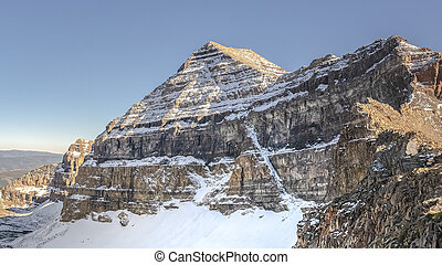 Panorama Snow on the slopes of Mount Timpanogos, Utah