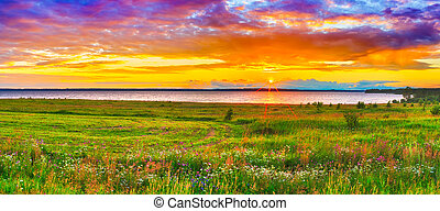 panorama, sobre, rio, pôr do sol, kama.