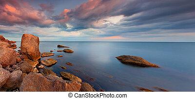 panorama, solnedgång, hav, färgrik