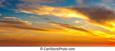 panorama, solnedgang