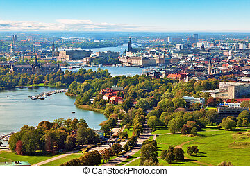 panorama, stockholm, aérien, suède
