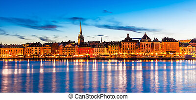 panorama, stockholm, abend, schweden