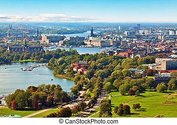 panorama, stockholm, luftaufnahmen, schweden