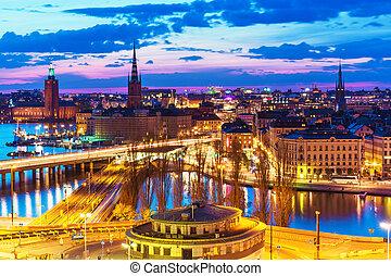 panorama, stockholm, zweden, nacht