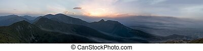Panorama. Sunset in the mountains.