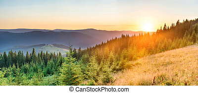 Panorama sunset in the mountains
