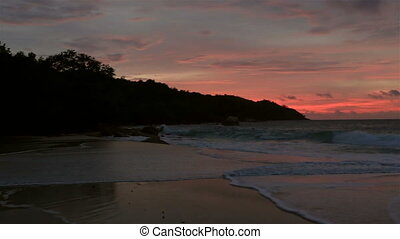 Panorama sunset on the beach of Anse Lazio.