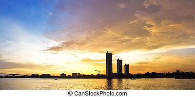 panorama sunset on the river at Bangkok