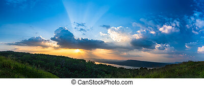 Panorama Sunset sky with ray light in twilight time