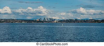 panorama, sylwetka na tle nieba, 2, bellevue, kaskady