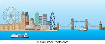 panorama, sylwetka na tle nieba, londyn, ilustracja