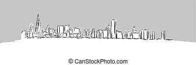 panorama, sylwetka na tle nieba, wektor, rys, chicago