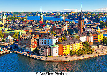 panorama, sztokholm, antena, szwecja