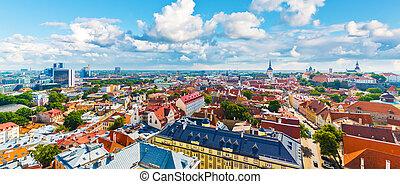 panorama, tallinn, aéreo, estónia