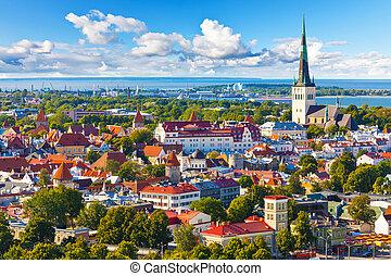 panorama, tallinn, aéreo, estonia