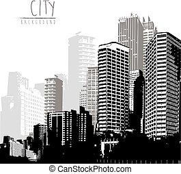 panorama, text., lugar, cityscape, negro, blanco, su