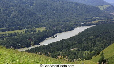 Panorama the river Katun from Mount Bloody Finger. Altai...