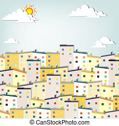 panorama town. creative vector applique