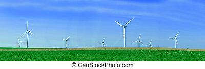 panorama, turbines, wind