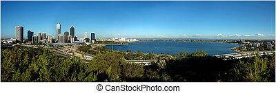 panorama, udsigter, perth, byen