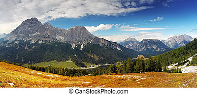 panorama utsikt, av, dolomiterna, italien, alperna