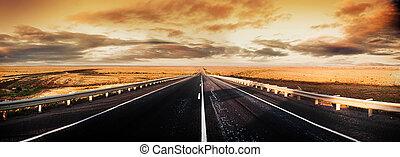 panorama, väg