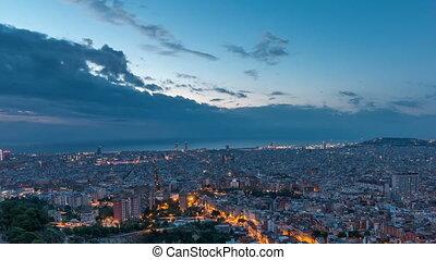 panorama, van, barcelona, nacht, om te, dag, timelapse, spanje, bekeken, van, de, bunkers, van, carmel