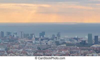 panorama, van, barcelona, timelapse, spanje, bekeken, van, de, bunkers, van, carmel