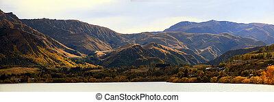 panorama, van, berg, alpien, alpen, verbreidingsgebied, op, meer, hayes, queenstown, newzealand