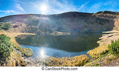 panorama, van, bergen, meer