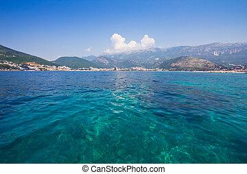 panorama, van, budva, aanzicht, van, de, zee