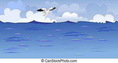 panorama, van, de, oceaan, met, een, het stijgen, gull