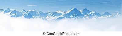 panorama, van, sneeuw, berg landschap, alpen