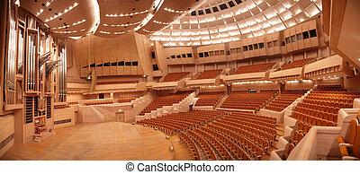 panorama, vazio, concerto, órgão, corredor