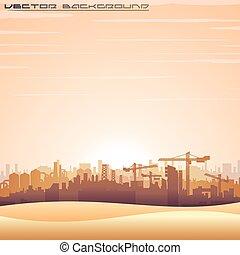 panorama, vecteur, mideast, cityscape.