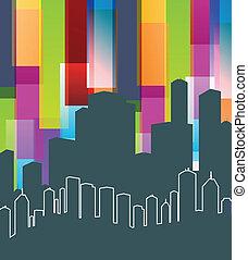 panorama, vector, colorido, plano de fondo, ciudad