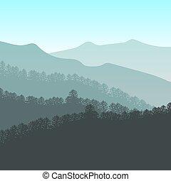Panorama vector illustration of mountain ridges. Peaks, blue...