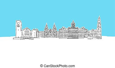 panorama, vektor, amsterdam, skizze, niederlande, skyline