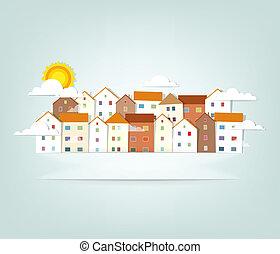 panorama, vektor, baner, town.
