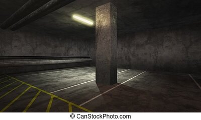panorama, vide, souterrain, garage, mouvement, appareil photo