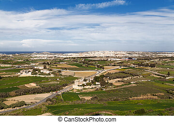 Panorama view fields around Mdina, Malta.