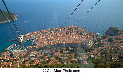 Panorama view from cable car of Dubrovnik, Croatia - ...
