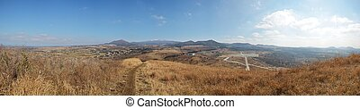 Panorama View from Sae Byeol Volcanic Cone in Jeju Island