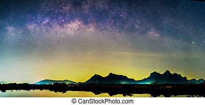 Panorama view milky way at the lake in night time