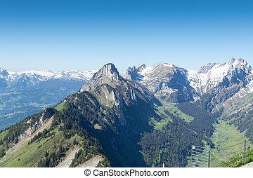 Panorama view of Alpstein mountain with lake of Seealp....