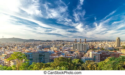 Panorama view of Barcelona city from Montjuic timelapse in cloudy day. Catalonia,  Spain