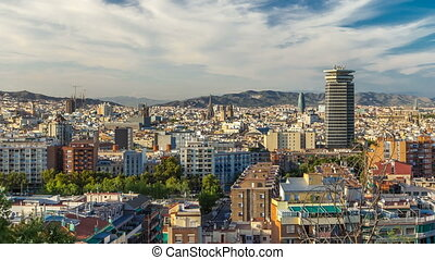 Panorama view of Barcelona city from Montjuic timelapse in...