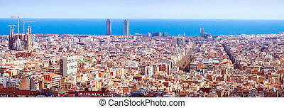 Panorama view of Barcelona in sunny day. Spain