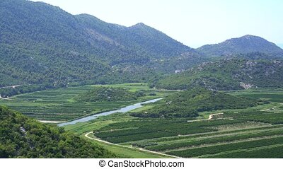 panorama view of beautiful Neretva valley in southern...