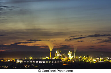 Panorama view of cement plant and power sation at night in Ivano-Frankivsk, Ukraine